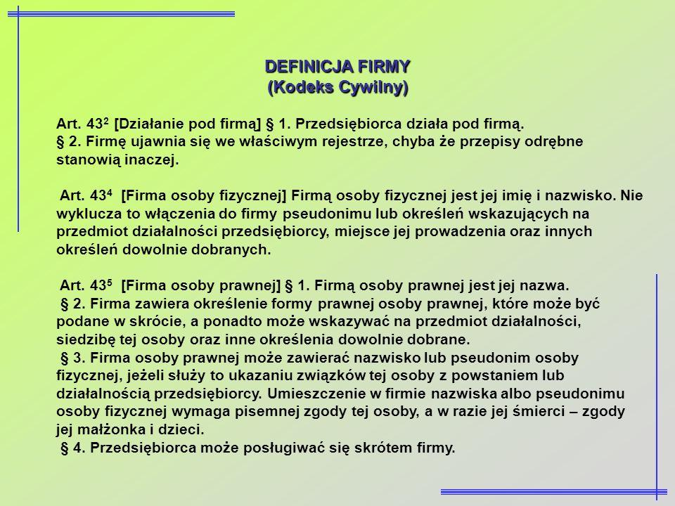 DEFINICJA FIRMY (Kodeks Cywilny)