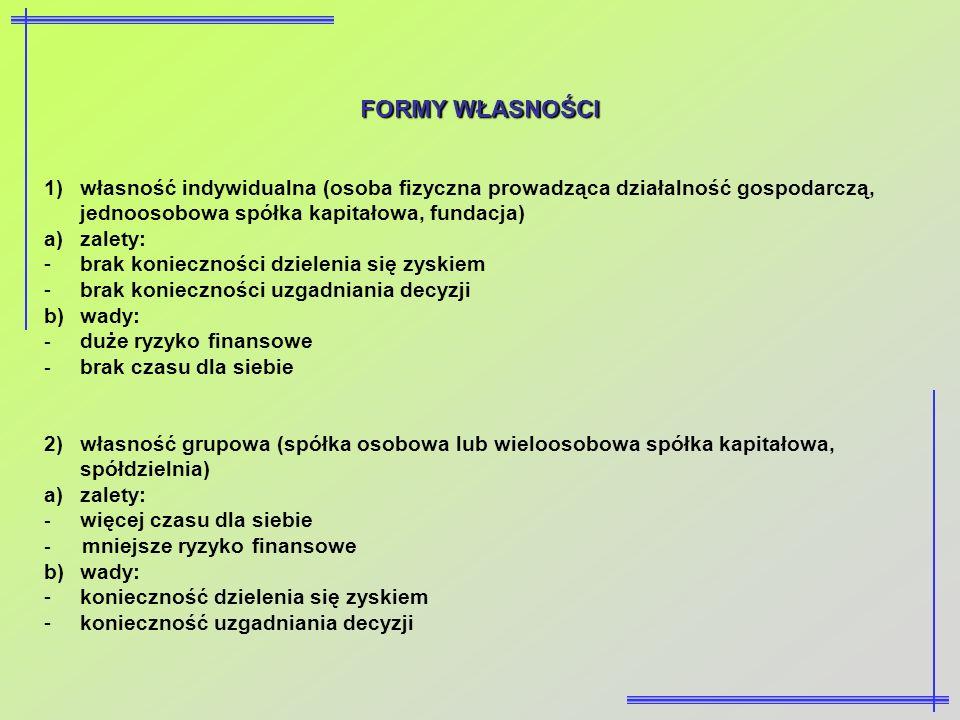 FORMY WŁASNOŚCI własność indywidualna (osoba fizyczna prowadząca działalność gospodarczą, jednoosobowa spółka kapitałowa, fundacja)