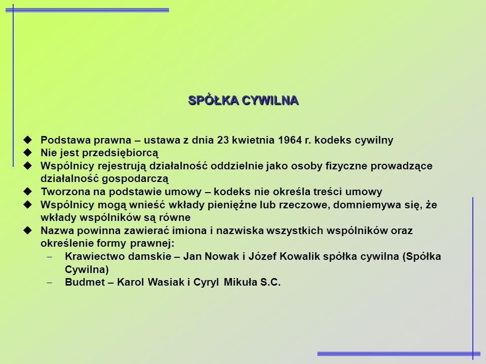 SPÓŁKA CYWILNAPodstawa prawna – ustawa z dnia 23 kwietnia 1964 r. kodeks cywilny. Nie jest przedsiębiorcą.