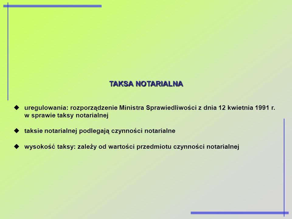 TAKSA NOTARIALNA uregulowania: rozporządzenie Ministra Sprawiedliwości z dnia 12 kwietnia 1991 r. w sprawie taksy notarialnej.