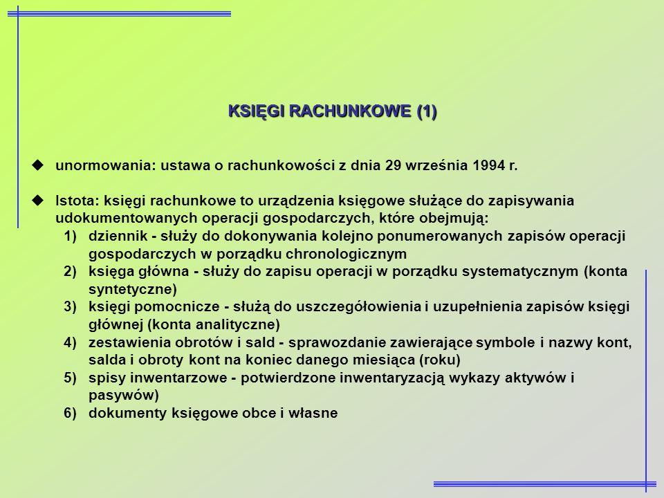 KSIĘGI RACHUNKOWE (1) unormowania: ustawa o rachunkowości z dnia 29 września 1994 r.