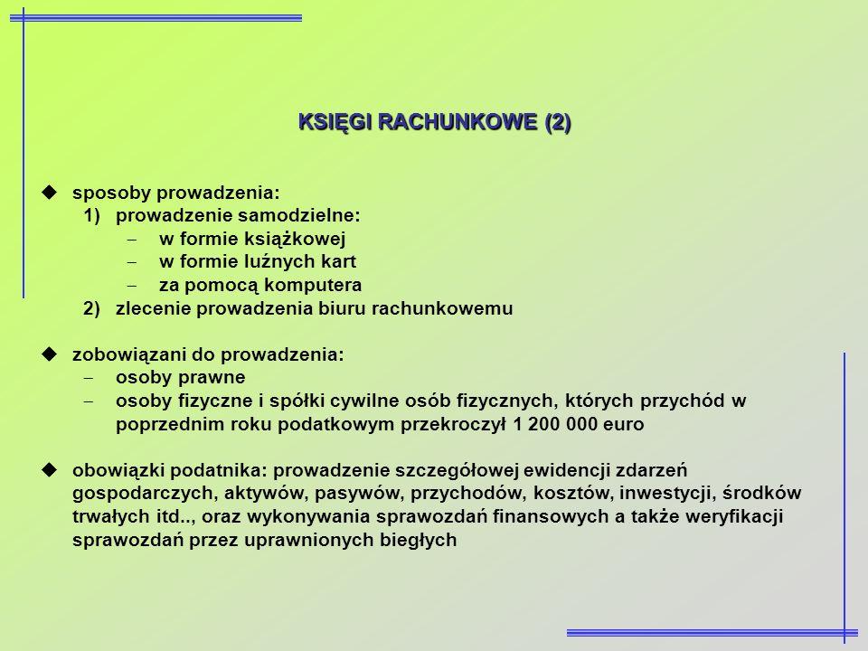 KSIĘGI RACHUNKOWE (2) sposoby prowadzenia: prowadzenie samodzielne: