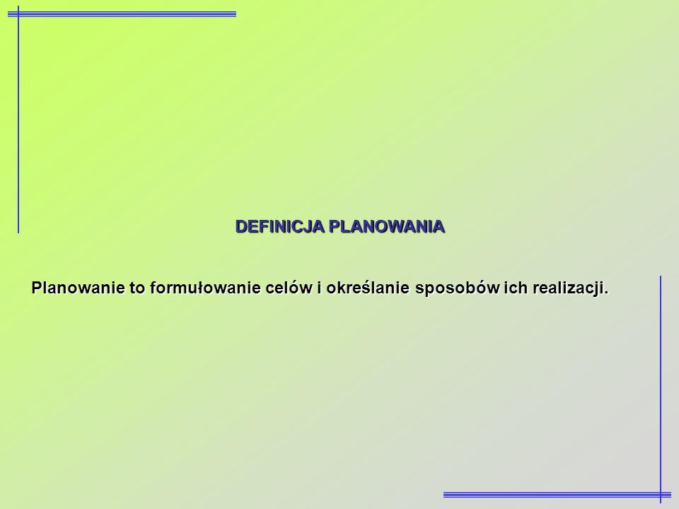 DEFINICJA PLANOWANIA Planowanie to formułowanie celów i określanie sposobów ich realizacji.