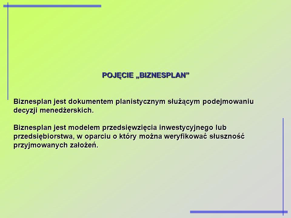 """POJĘCIE """"BIZNESPLAN Biznesplan jest dokumentem planistycznym służącym podejmowaniu decyzji menedżerskich."""