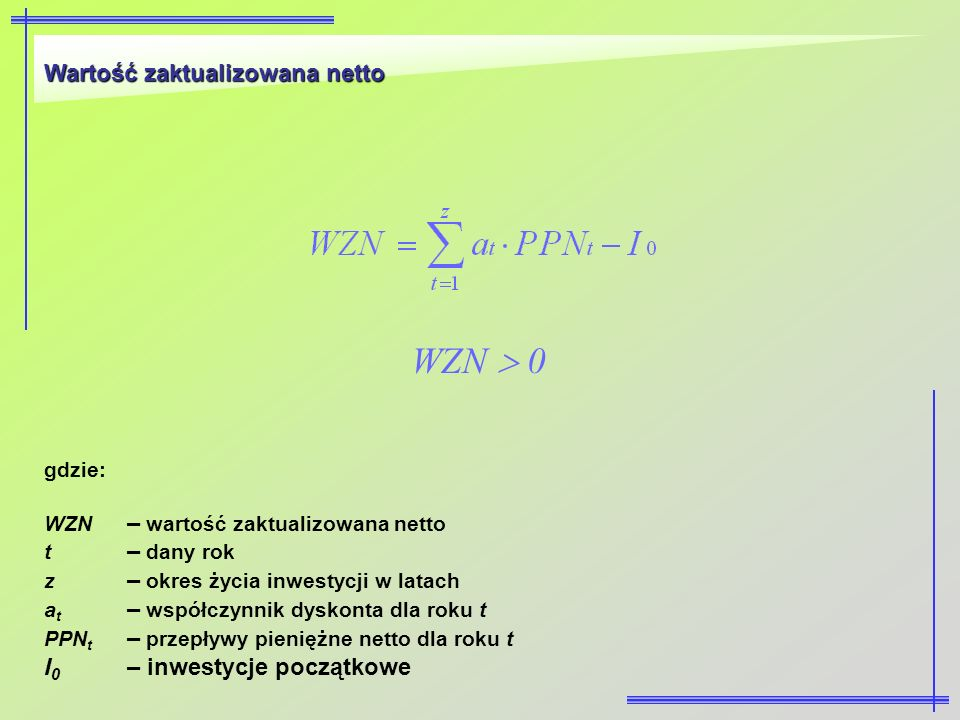 WZN  0 Wartość zaktualizowana netto I0 – inwestycje początkowe gdzie: