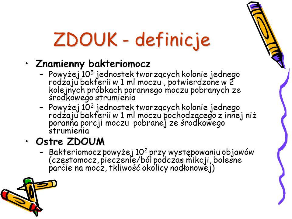 ZDOUK - definicje Znamienny bakteriomocz Ostre ZDOUM