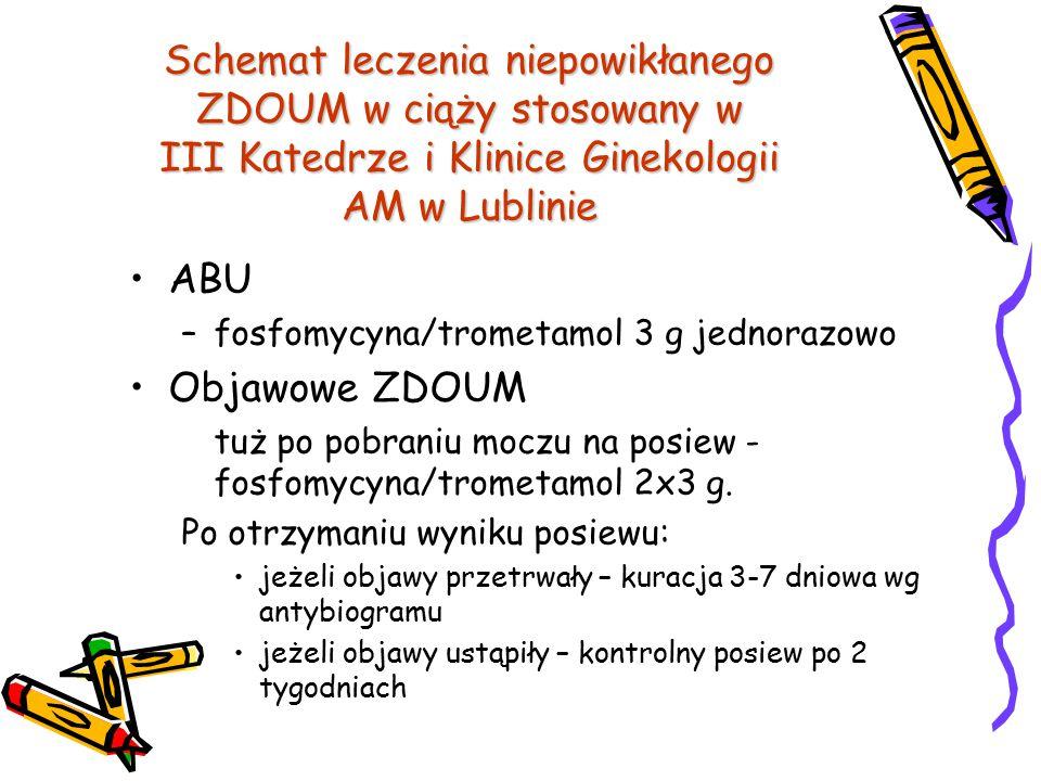 Schemat leczenia niepowikłanego ZDOUM w ciąży stosowany w III Katedrze i Klinice Ginekologii AM w Lublinie
