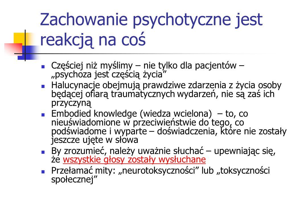 Zachowanie psychotyczne jest reakcją na coś