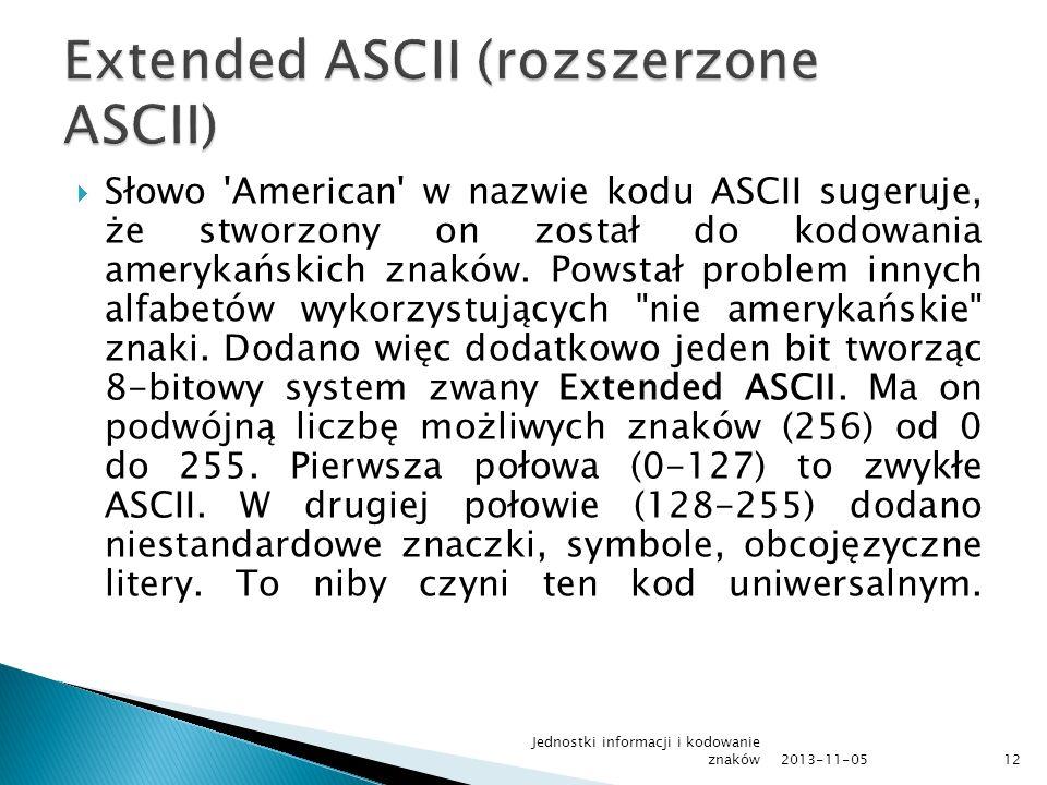 Extended ASCII (rozszerzone ASCII)