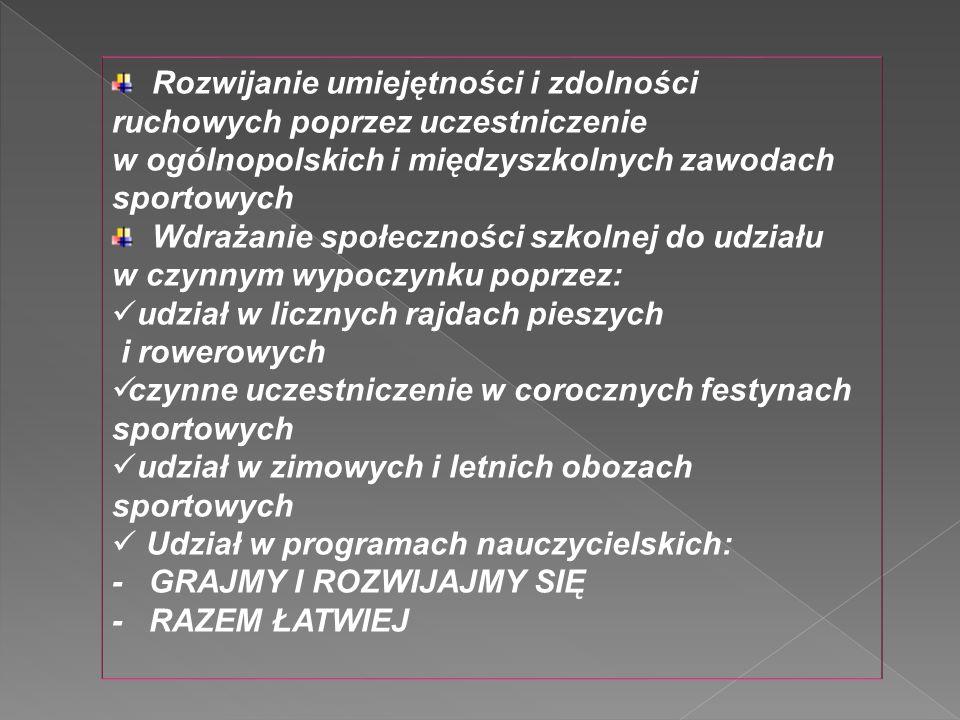 Rozwijanie umiejętności i zdolności ruchowych poprzez uczestniczenie w ogólnopolskich i międzyszkolnych zawodach sportowych