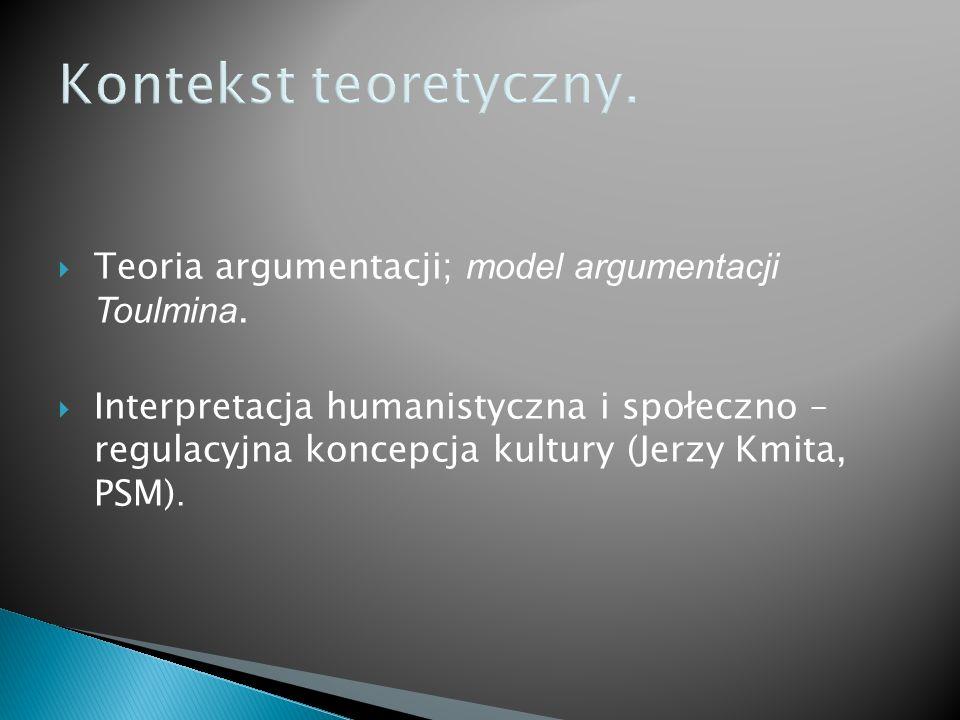 Kontekst teoretyczny. Teoria argumentacji; model argumentacji Toulmina.