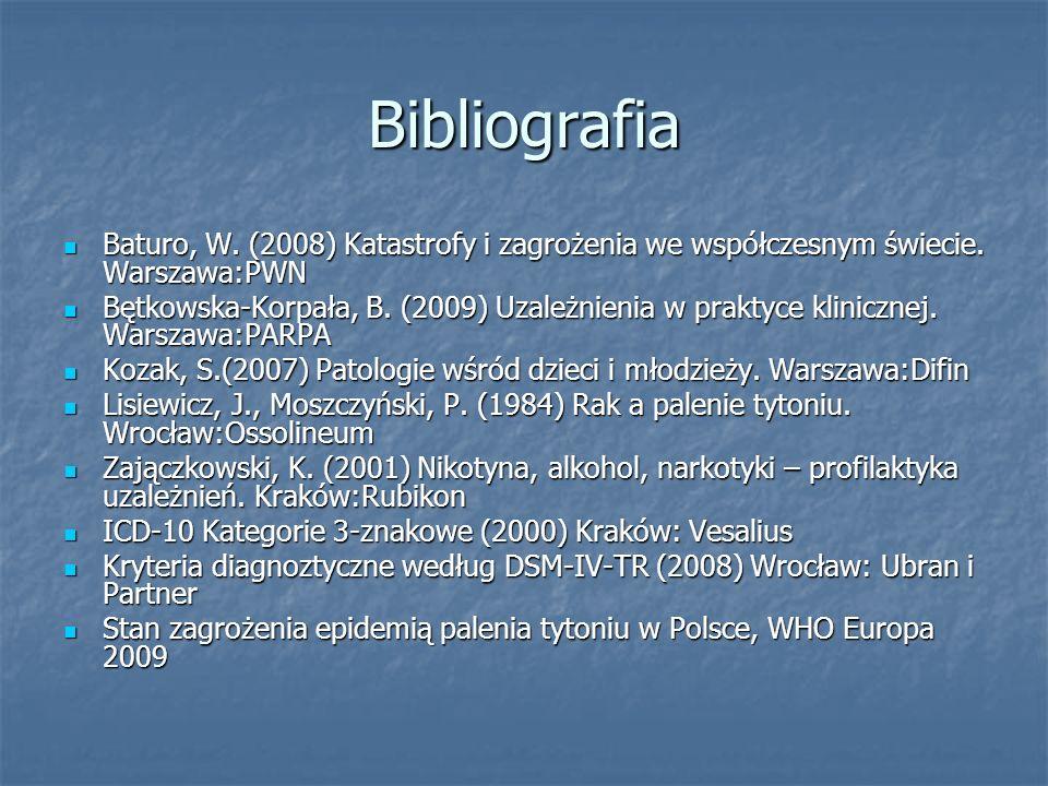 BibliografiaBaturo, W. (2008) Katastrofy i zagrożenia we współczesnym świecie. Warszawa:PWN.