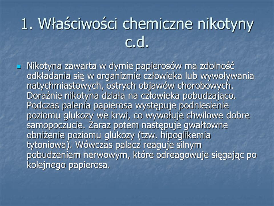 1. Właściwości chemiczne nikotyny c.d.