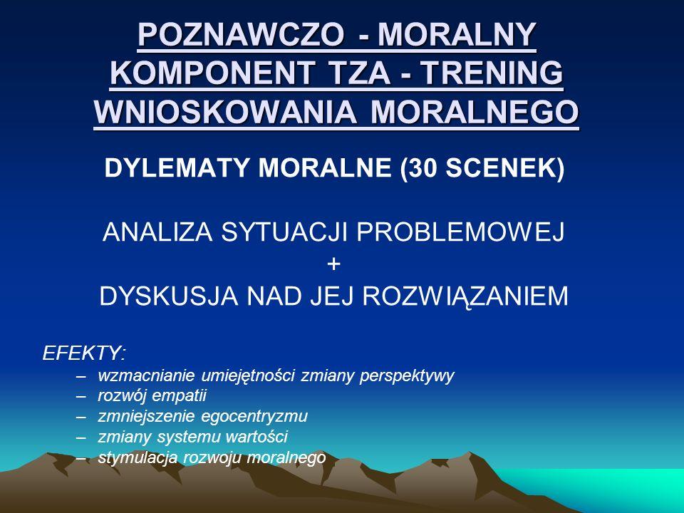 POZNAWCZO - MORALNY KOMPONENT TZA - TRENING WNIOSKOWANIA MORALNEGO