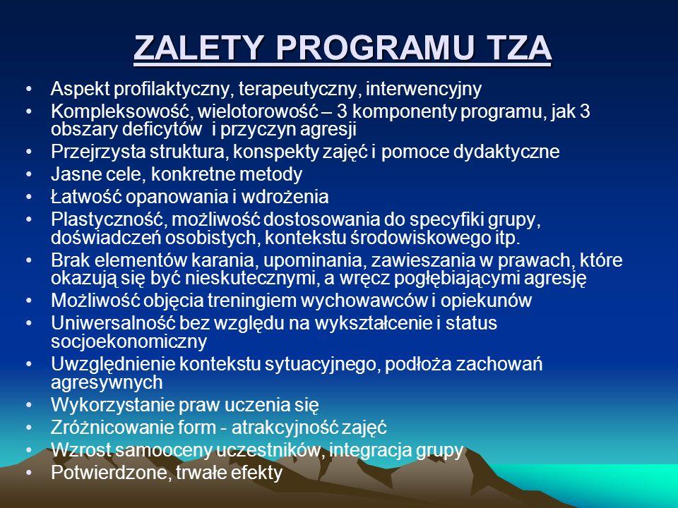 ZALETY PROGRAMU TZA Aspekt profilaktyczny, terapeutyczny, interwencyjny.