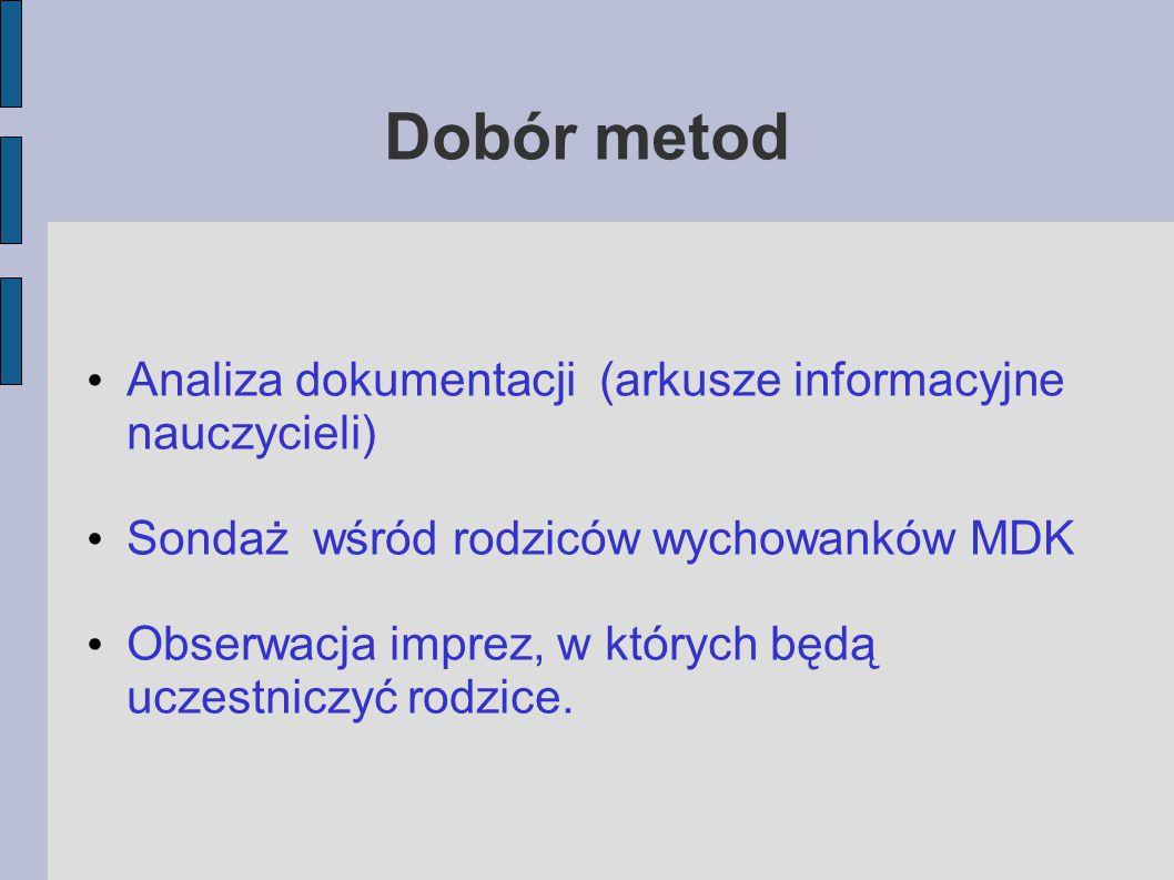 Dobór metod Analiza dokumentacji (arkusze informacyjne nauczycieli)