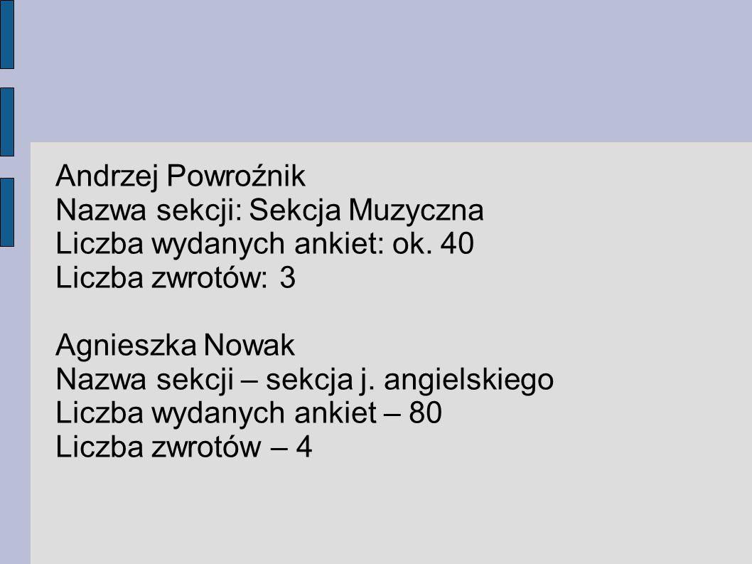 Andrzej Powroźnik Nazwa sekcji: Sekcja Muzyczna. Liczba wydanych ankiet: ok. 40. Liczba zwrotów: 3.