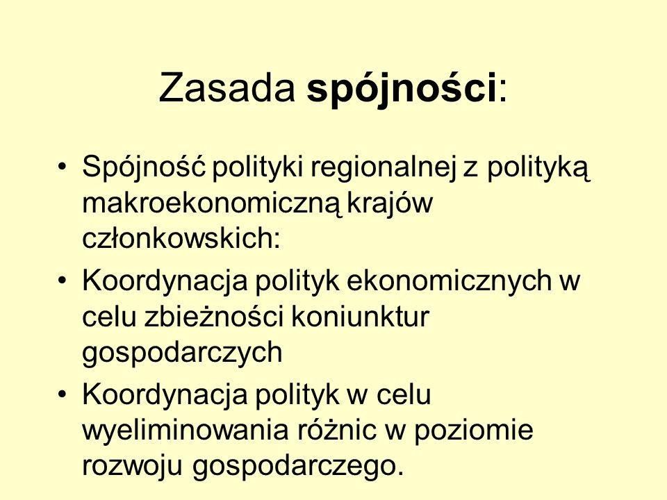Zasada spójności: Spójność polityki regionalnej z polityką makroekonomiczną krajów członkowskich: