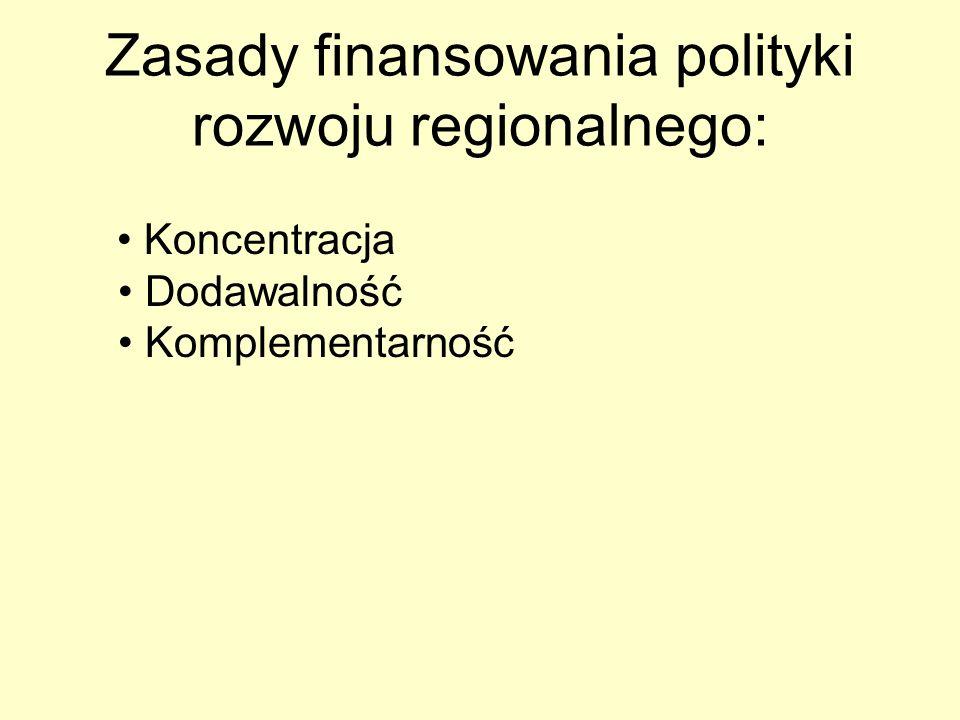 Zasady finansowania polityki rozwoju regionalnego: