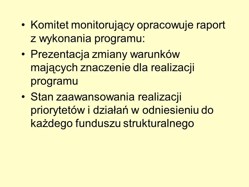 Komitet monitorujący opracowuje raport z wykonania programu: