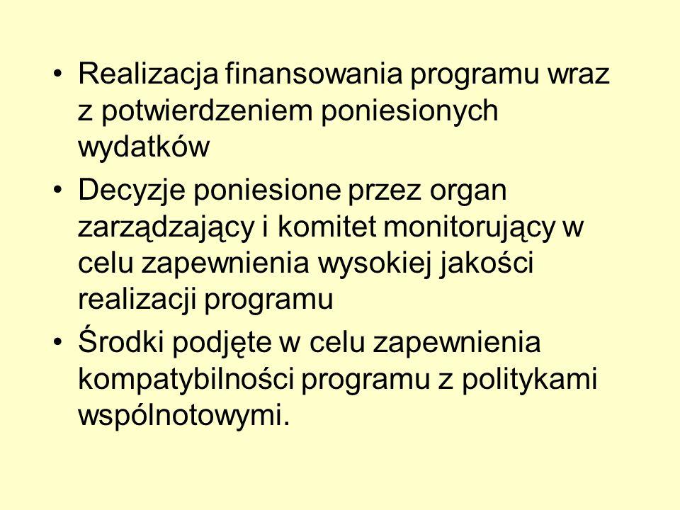 Realizacja finansowania programu wraz z potwierdzeniem poniesionych wydatków