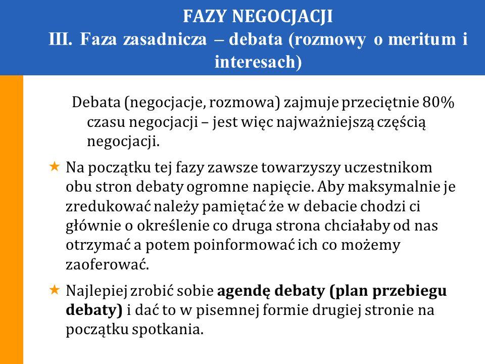 FAZY NEGOCJACJI III. Faza zasadnicza – debata (rozmowy o meritum i interesach)