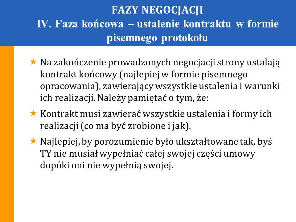 FAZY NEGOCJACJI IV. Faza końcowa – ustalenie kontraktu w formie pisemnego protokołu