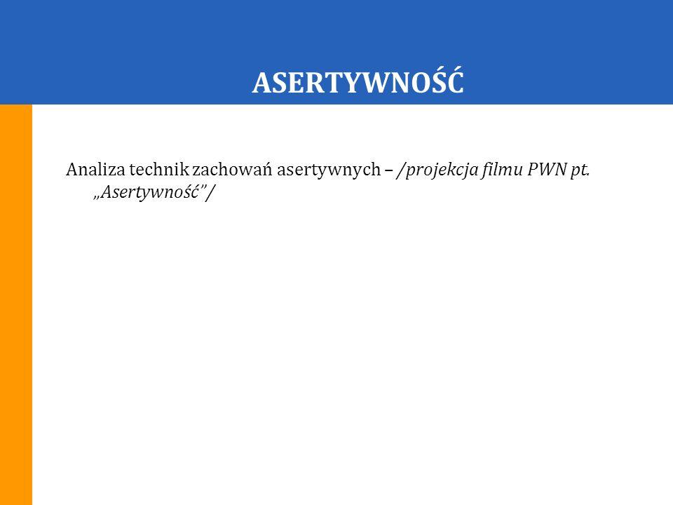 """ASERTYWNOŚĆ Analiza technik zachowań asertywnych – /projekcja filmu PWN pt. """"Asertywność /"""