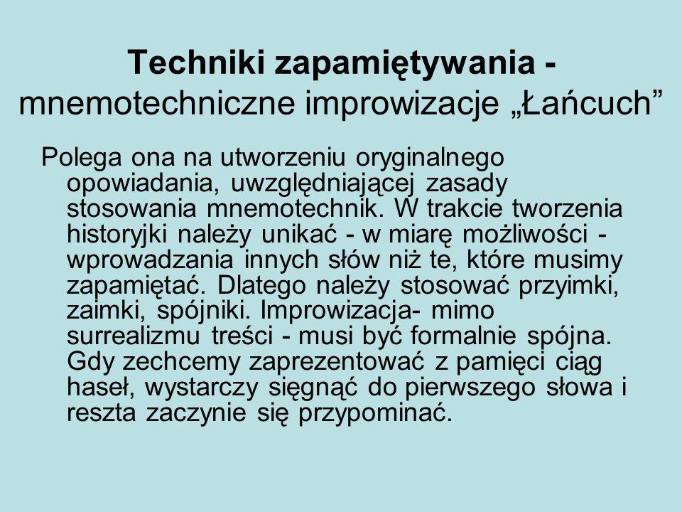 """Techniki zapamiętywania - mnemotechniczne improwizacje """"Łańcuch"""