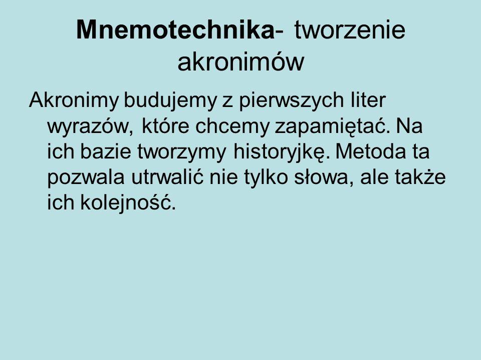 Mnemotechnika- tworzenie akronimów