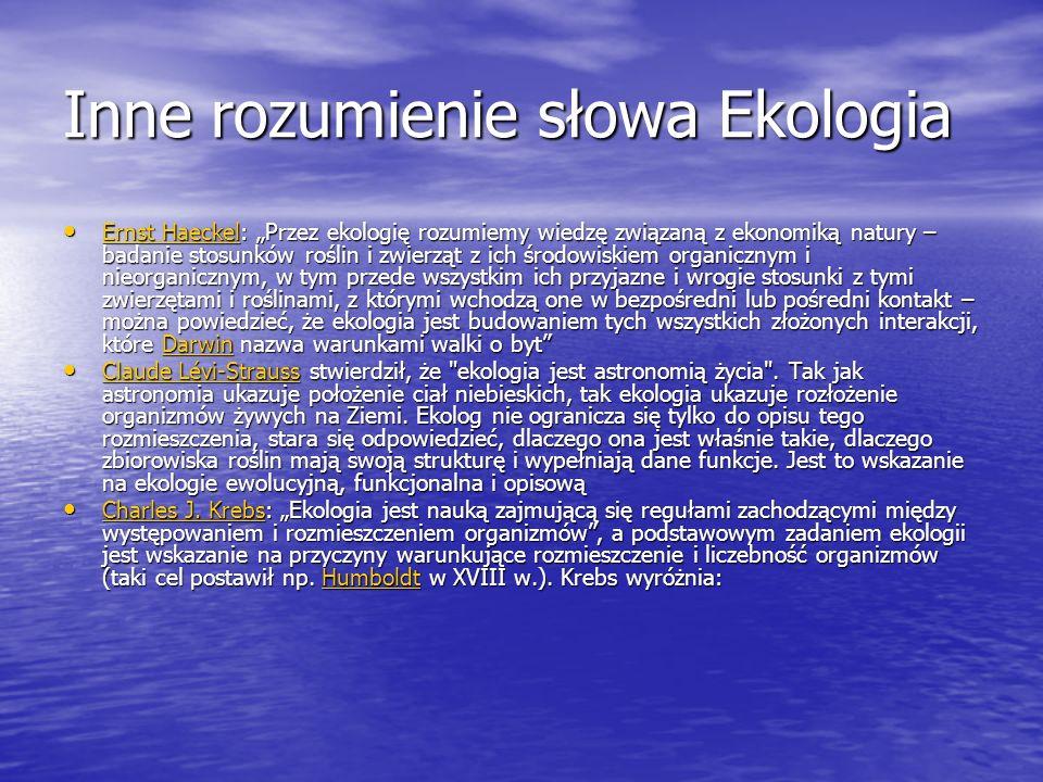 Inne rozumienie słowa Ekologia