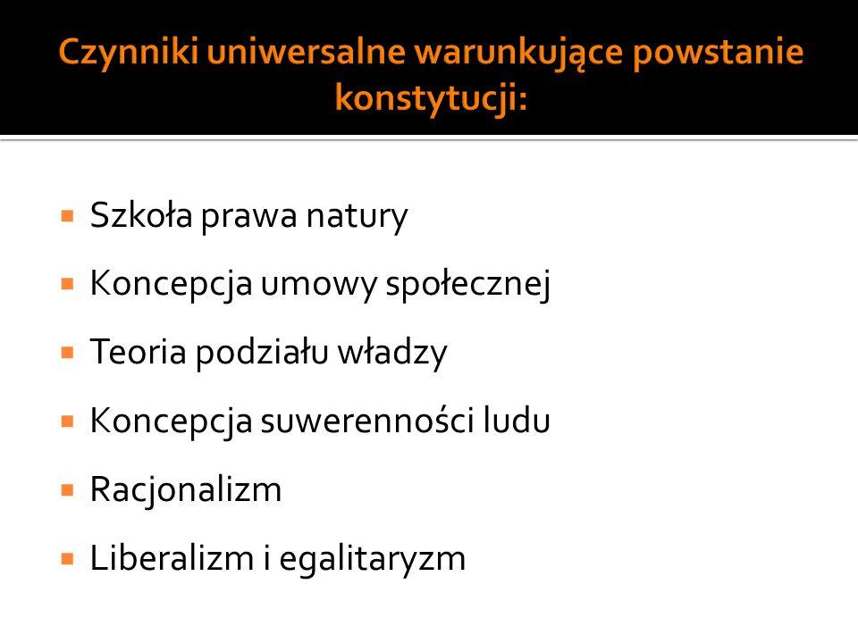 Czynniki uniwersalne warunkujące powstanie konstytucji: