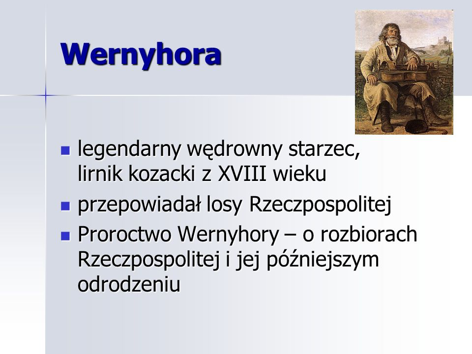Wernyhora legendarny wędrowny starzec, lirnik kozacki z XVIII wieku