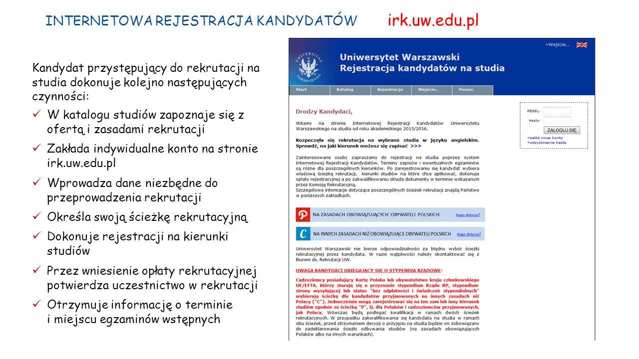 INTERNETOWA REJESTRACJA KANDYDATÓW irk.uw.edu.pl