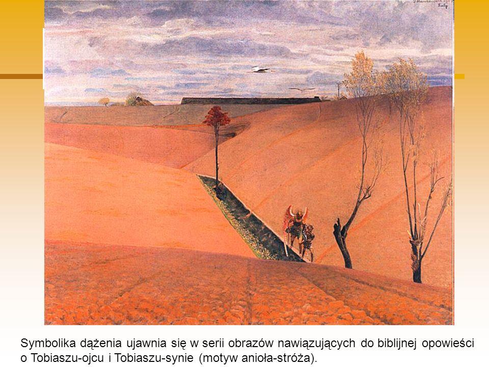 Symbolika dążenia ujawnia się w serii obrazów nawiązujących do biblijnej opowieści o Tobiaszu-ojcu i Tobiaszu-synie (motyw anioła-stróża).
