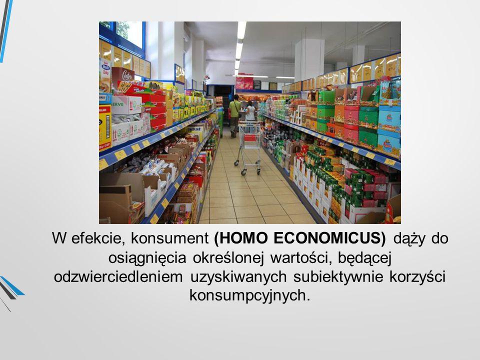 W efekcie, konsument (HOMO ECONOMICUS) dąży do osiągnięcia określonej wartości, będącej odzwierciedleniem uzyskiwanych subiektywnie korzyści konsumpcyjnych.