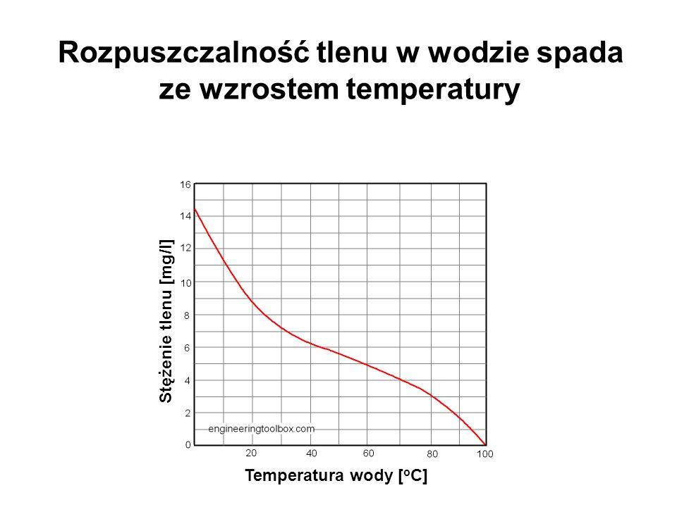 Rozpuszczalność tlenu w wodzie spada ze wzrostem temperatury