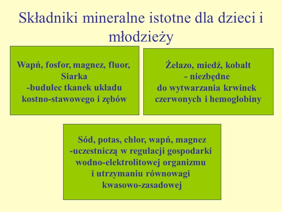 Składniki mineralne istotne dla dzieci i młodzieży
