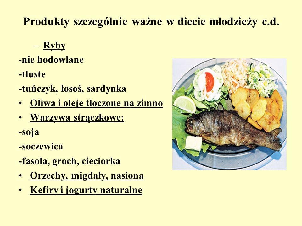 Produkty szczególnie ważne w diecie młodzieży c.d.