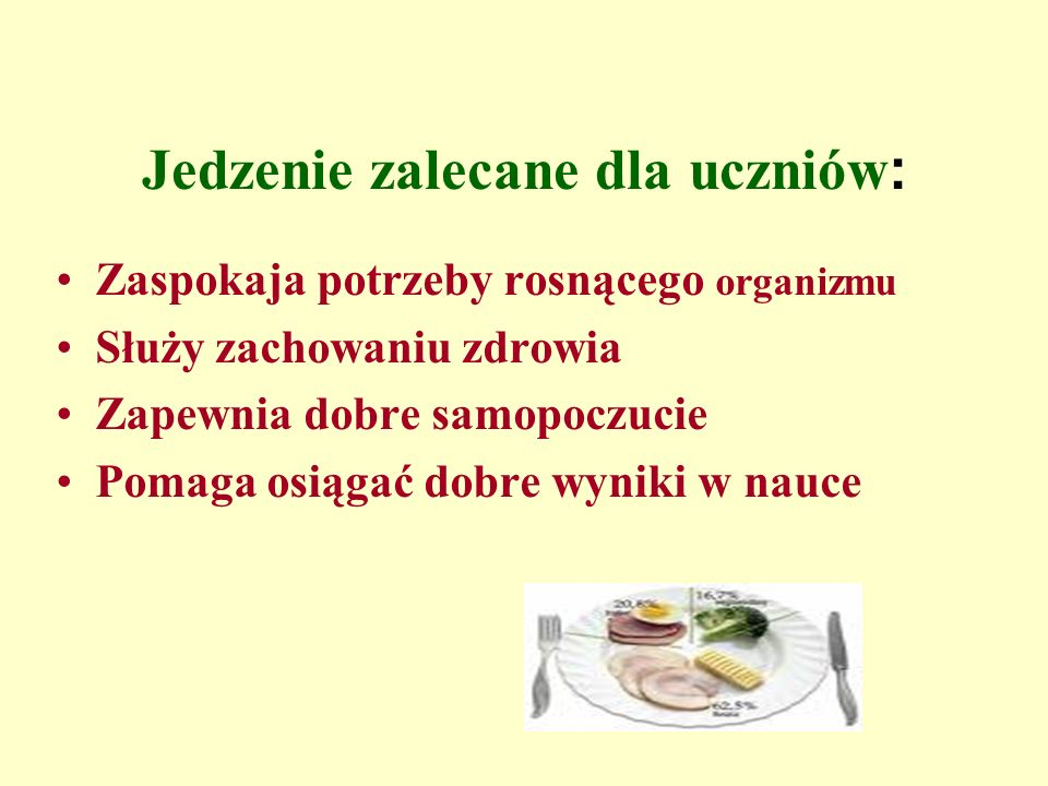 Jedzenie zalecane dla uczniów: