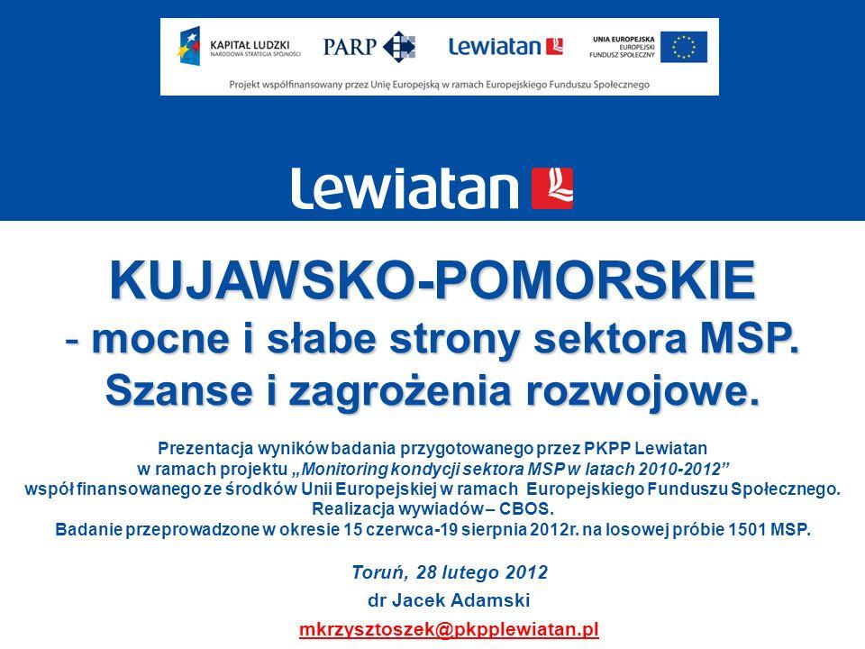KUJAWSKO-POMORSKIE mocne i słabe strony sektora MSP.