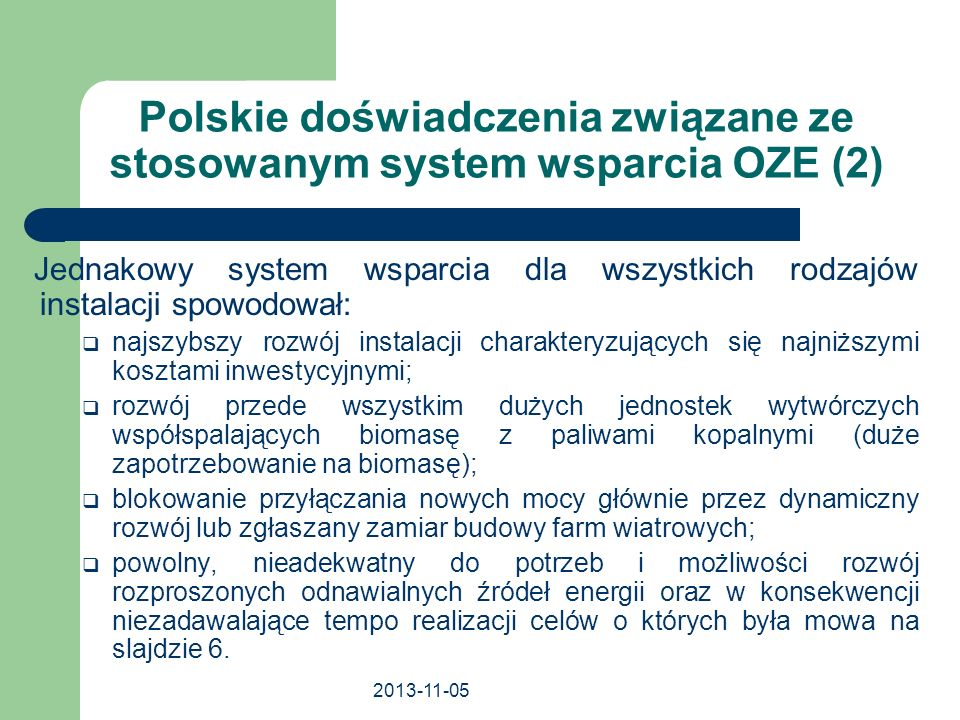 Polskie doświadczenia związane ze stosowanym system wsparcia OZE (2)