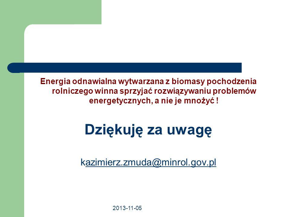 Dziękuję za uwagę kazimierz.zmuda@minrol.gov.pl