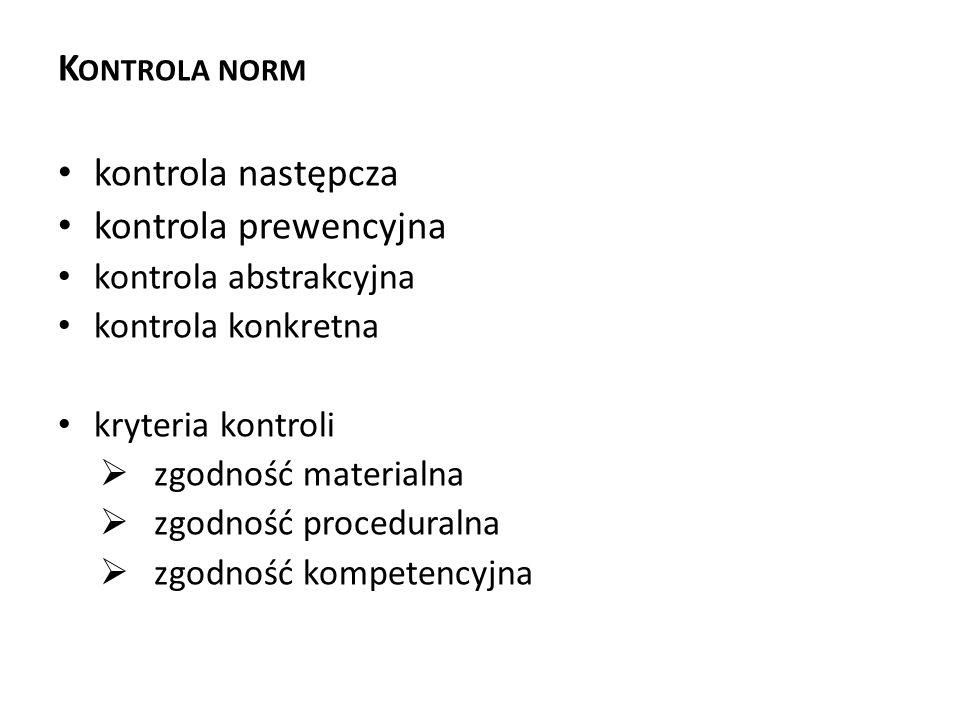 Kontrola norm kontrola następcza kontrola prewencyjna