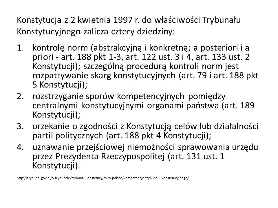Konstytucja z 2 kwietnia 1997 r. do właściwości Trybunału