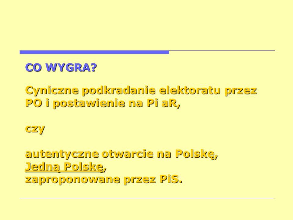 autentyczne otwarcie na Polskę, Jedną Polskę, zaproponowane przez PiS.