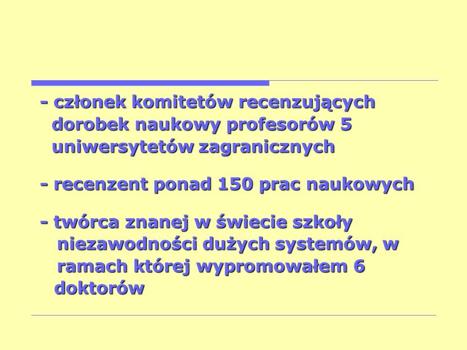 - członek komitetów recenzujących