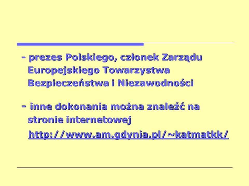 - inne dokonania można znaleźć na http://www.am.gdynia.pl/~katmatkk/