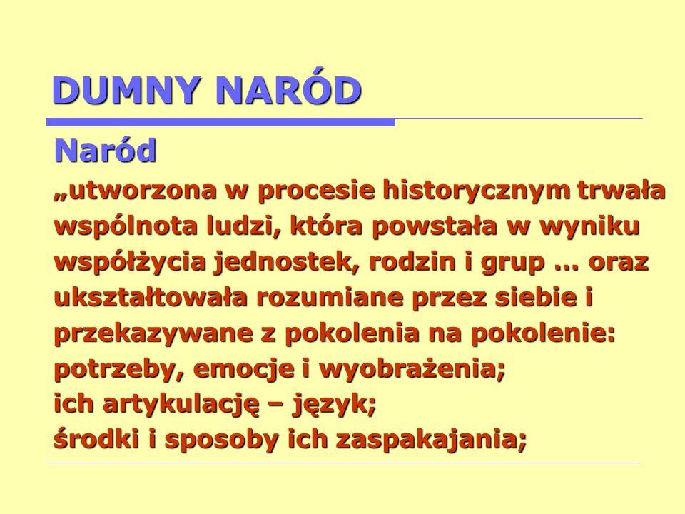 """DUMNY NARÓD Naród """"utworzona w procesie historycznym trwała"""