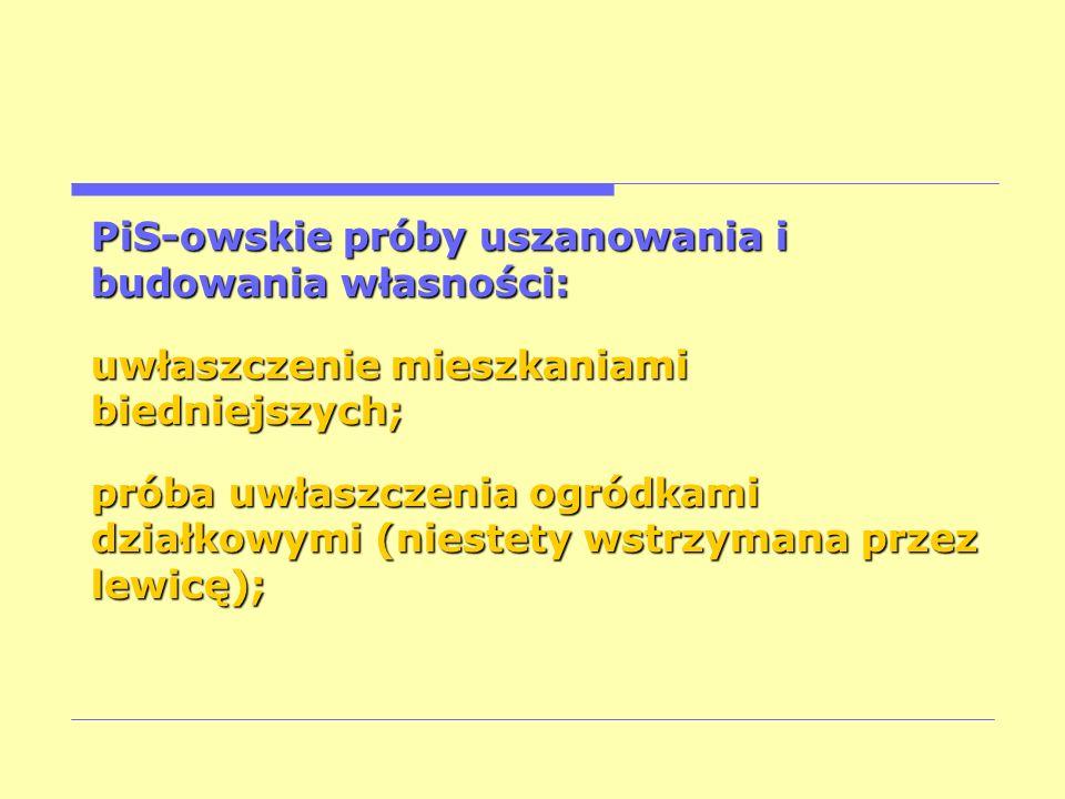 PiS-owskie próby uszanowania i budowania własności: